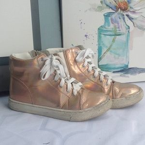 Justice Rose Gold high top sneaker